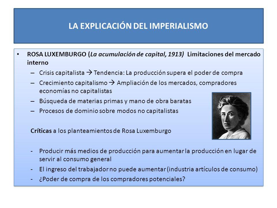 LA EXPLICACIÓN DEL IMPERIALISMO ROSA LUXEMBURGO (La acumulación de capital, 1913) Limitaciones del mercado interno – Crisis capitalista Tendencia: La