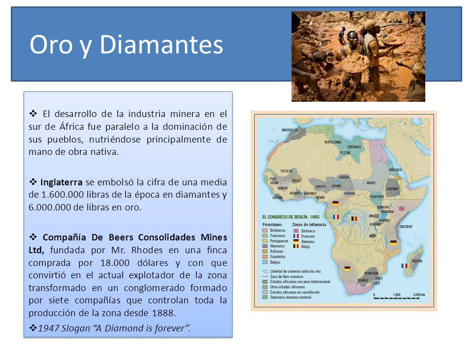 Oro y Diamantes El desarrollo de la industria minera en el sur de África fue paralelo a la dominación de sus pueblos, nutriéndose principalmente de ma