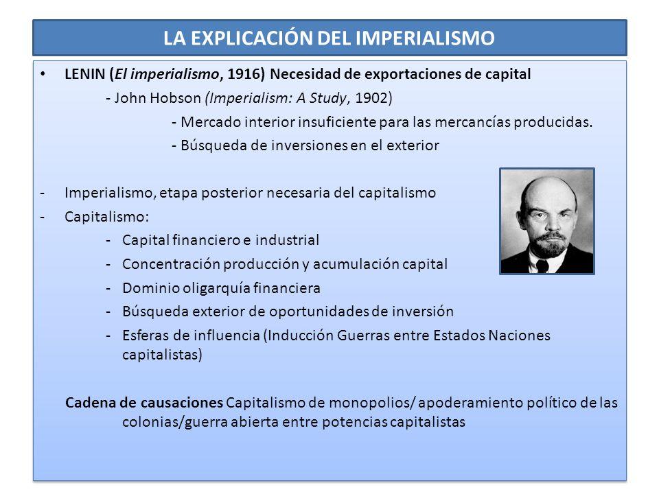 LA EXPLICACIÓN DEL IMPERIALISMO LENIN (El imperialismo, 1916) Necesidad de exportaciones de capital - John Hobson (Imperialism: A Study, 1902) - Merca