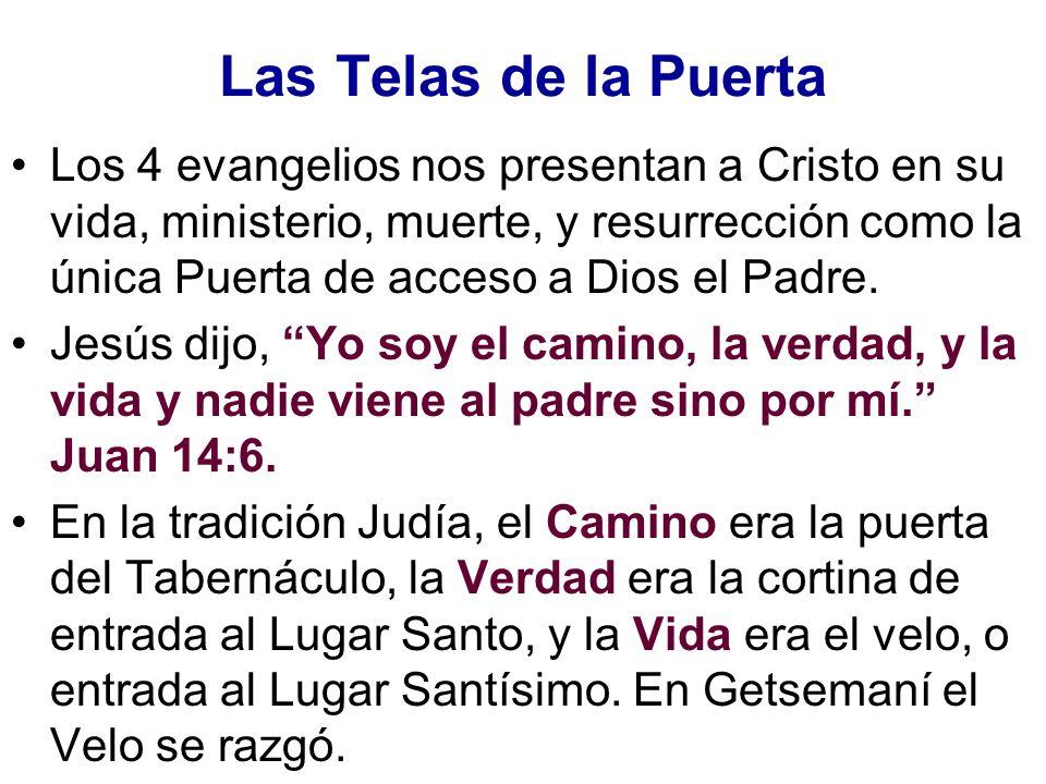 Las Telas de la Puerta Los 4 evangelios nos presentan a Cristo en su vida, ministerio, muerte, y resurrección como la única Puerta de acceso a Dios el