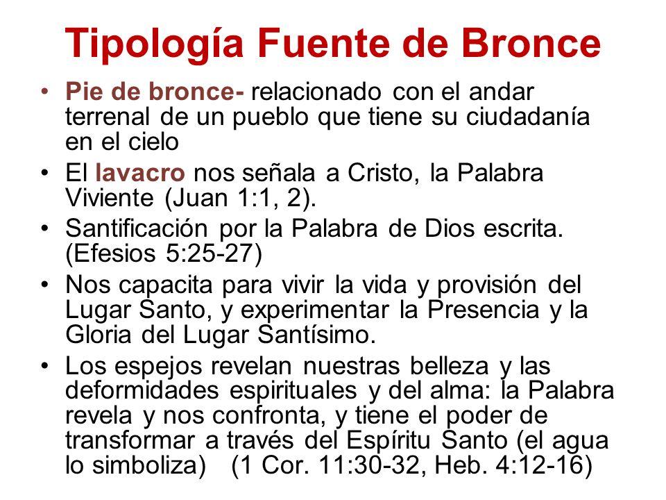 Tipología Fuente de Bronce Pie de bronce- relacionado con el andar terrenal de un pueblo que tiene su ciudadanía en el cielo El lavacro nos señala a C