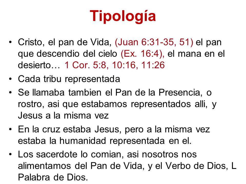 Tipología Cristo, el pan de Vida, (Juan 6:31-35, 51) el pan que descendio del cielo (Ex. 16:4), el mana en el desierto… 1 Cor. 5:8, 10:16, 11:26 Cada
