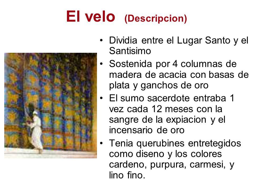 El velo (Descripcion) Dividia entre el Lugar Santo y el Santisimo Sostenida por 4 columnas de madera de acacia con basas de plata y ganchos de oro El