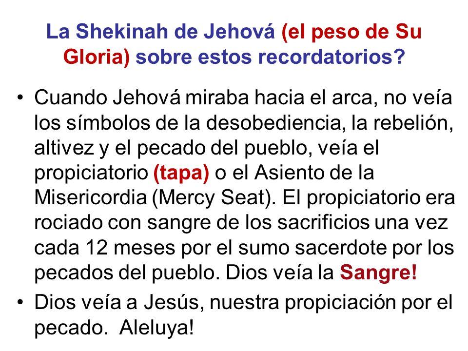 La Shekinah de Jehová (el peso de Su Gloria) sobre estos recordatorios? Cuando Jehová miraba hacia el arca, no veía los símbolos de la desobediencia,