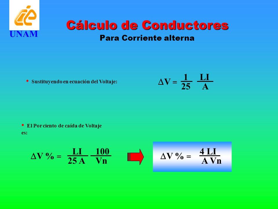 Cálculo de Conductores Para Corriente alterna UNAM Sustituyendo en ecuación del Voltaje: LI 1 V = A25 El Por ciento de caída de Voltaje es: LI V % = 2