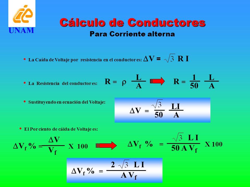 Cálculo de Conductores Para Corriente alterna UNAM La Caída de Voltaje por resistencia en el conductor es: V = R I La Resistencia del conductor es: R