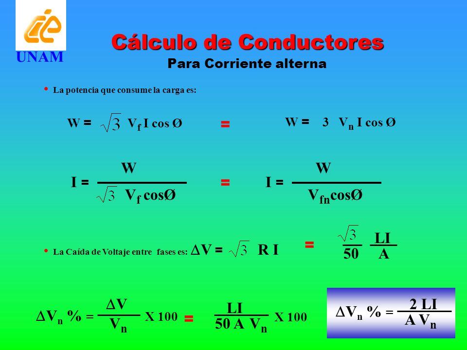 La potencia que consume la carga es: W = V f I cos Ø W I = V f cosØ Cálculo de Conductores Para Corriente alterna W = 3 V n I cos Ø = = W I = V fn cos