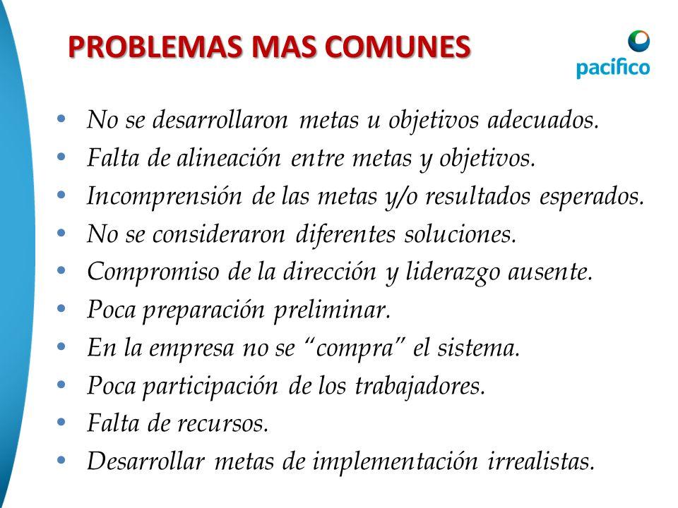 PROBLEMAS MAS COMUNES No se desarrollaron metas u objetivos adecuados. Falta de alineación entre metas y objetivos. Incomprensión de las metas y/o res