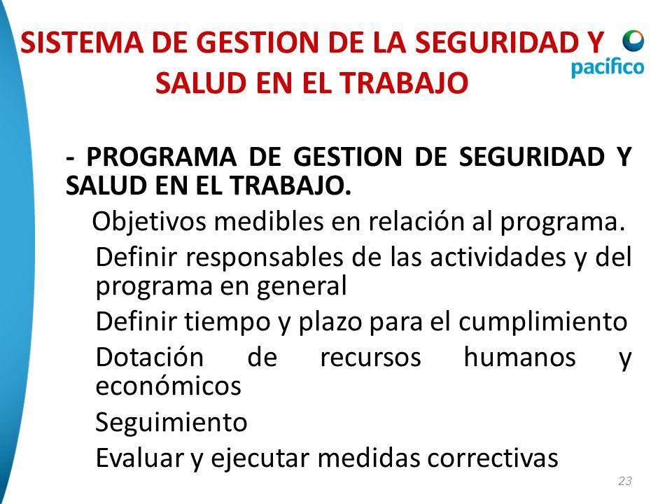 23 - PROGRAMA DE GESTION DE SEGURIDAD Y SALUD EN EL TRABAJO. Objetivos medibles en relación al programa. Definir responsables de las actividades y del