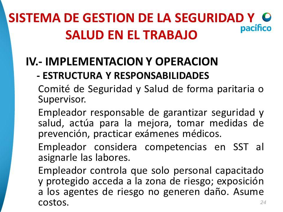 24 IV.- IMPLEMENTACION Y OPERACION - ESTRUCTURA Y RESPONSABILIDADES Comité de Seguridad y Salud de forma paritaria o Supervisor. Empleador responsable