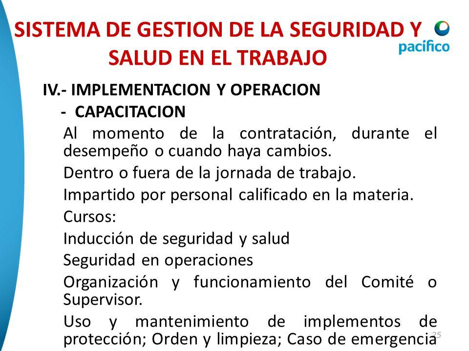 25 IV.- IMPLEMENTACION Y OPERACION - CAPACITACION Al momento de la contratación, durante el desempeño o cuando haya cambios. Dentro o fuera de la jorn