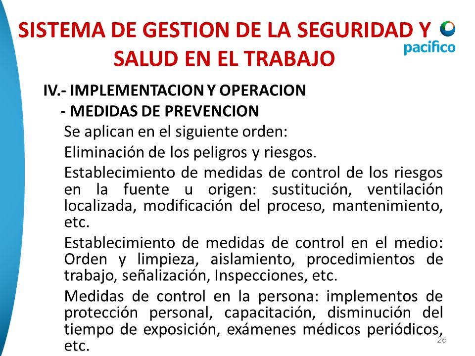 26 IV.- IMPLEMENTACION Y OPERACION - MEDIDAS DE PREVENCION Se aplican en el siguiente orden: Eliminación de los peligros y riesgos. Establecimiento de