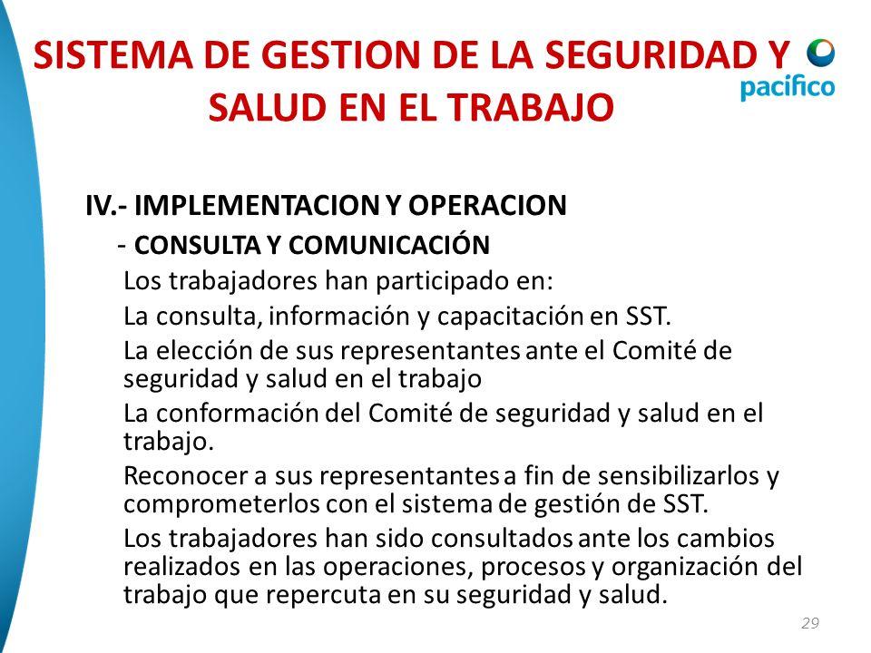29 IV.- IMPLEMENTACION Y OPERACION - CONSULTA Y COMUNICACIÓN Los trabajadores han participado en: La consulta, información y capacitación en SST. La e