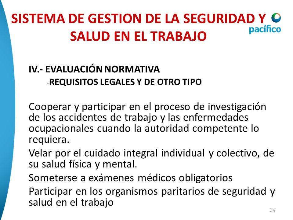 34 IV.- EVALUACIÓN NORMATIVA - REQUISITOS LEGALES Y DE OTRO TIPO Cooperar y participar en el proceso de investigación de los accidentes de trabajo y l