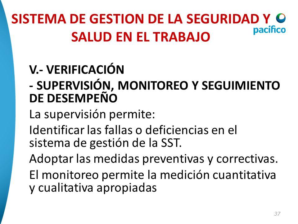 37 V.- VERIFICACIÓN - SUPERVISIÓN, MONITOREO Y SEGUIMIENTO DE DESEMPEÑO La supervisión permite: Identificar las fallas o deficiencias en el sistema de