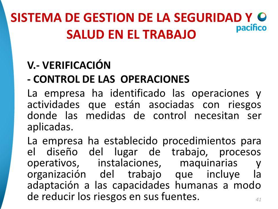 41 V.- VERIFICACIÓN - CONTROL DE LAS OPERACIONES La empresa ha identificado las operaciones y actividades que están asociadas con riesgos donde las me