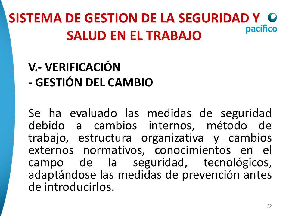 42 V.- VERIFICACIÓN - GESTIÓN DEL CAMBIO Se ha evaluado las medidas de seguridad debido a cambios internos, método de trabajo, estructura organizativa
