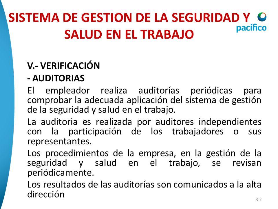 43 V.- VERIFICACIÓN - AUDITORIAS El empleador realiza auditorías periódicas para comprobar la adecuada aplicación del sistema de gestión de la segurid
