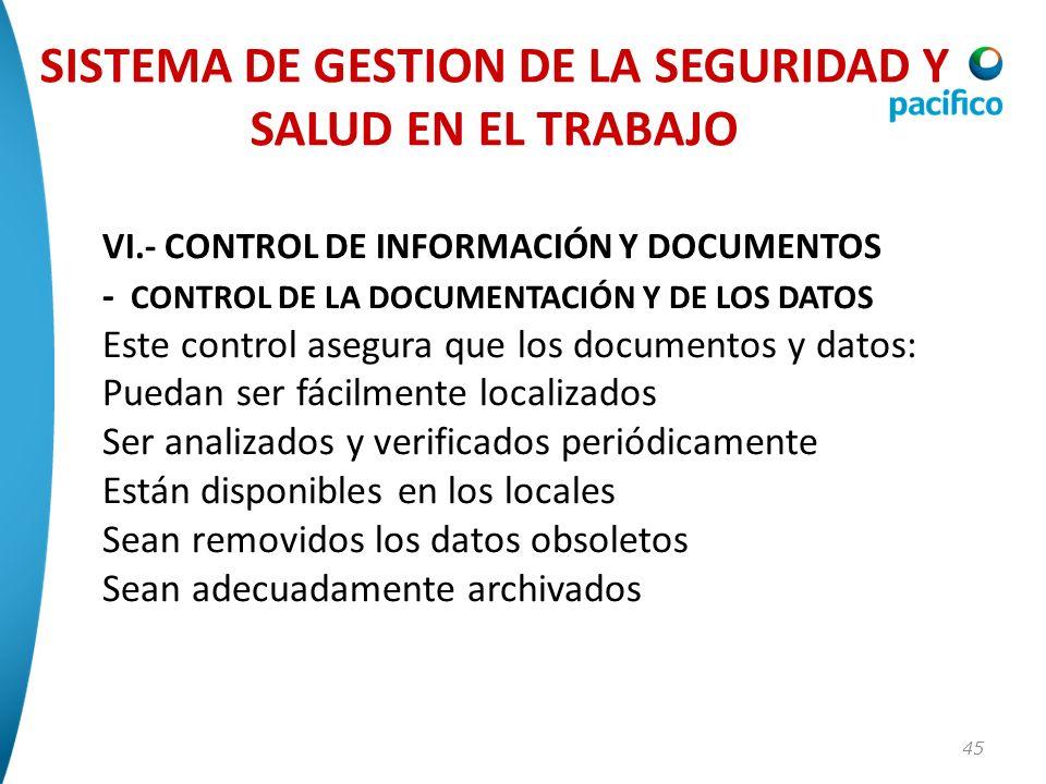 45 VI.- CONTROL DE INFORMACIÓN Y DOCUMENTOS - CONTROL DE LA DOCUMENTACIÓN Y DE LOS DATOS Este control asegura que los documentos y datos: Puedan ser f