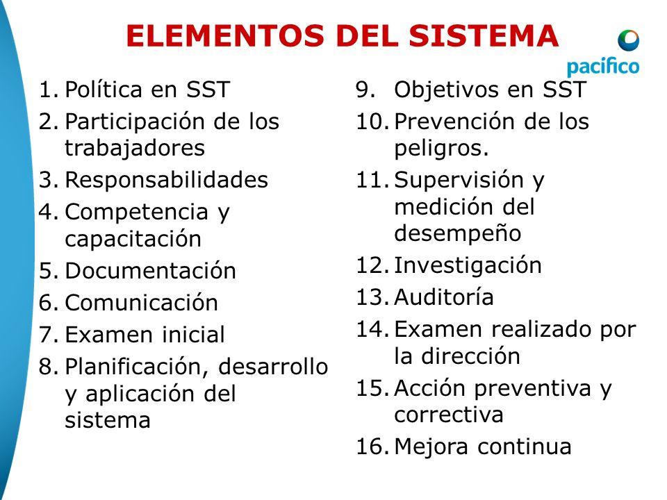 1.Política en SST 2.Participación de los trabajadores 3.Responsabilidades 4.Competencia y capacitación 5.Documentación 6.Comunicación 7.Examen inicial