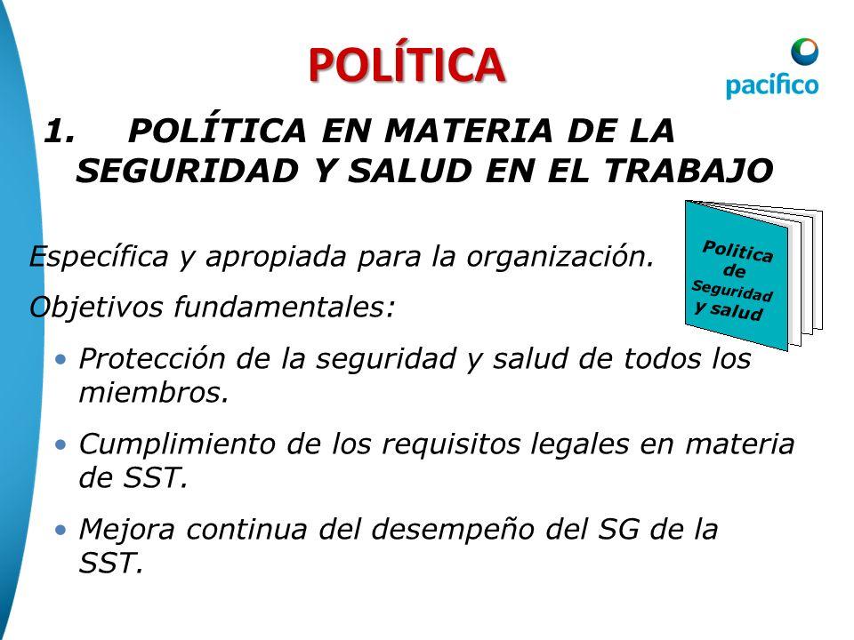 POLÍTICA Específica y apropiada para la organización. Objetivos fundamentales: Protección de la seguridad y salud de todos los miembros. Cumplimiento