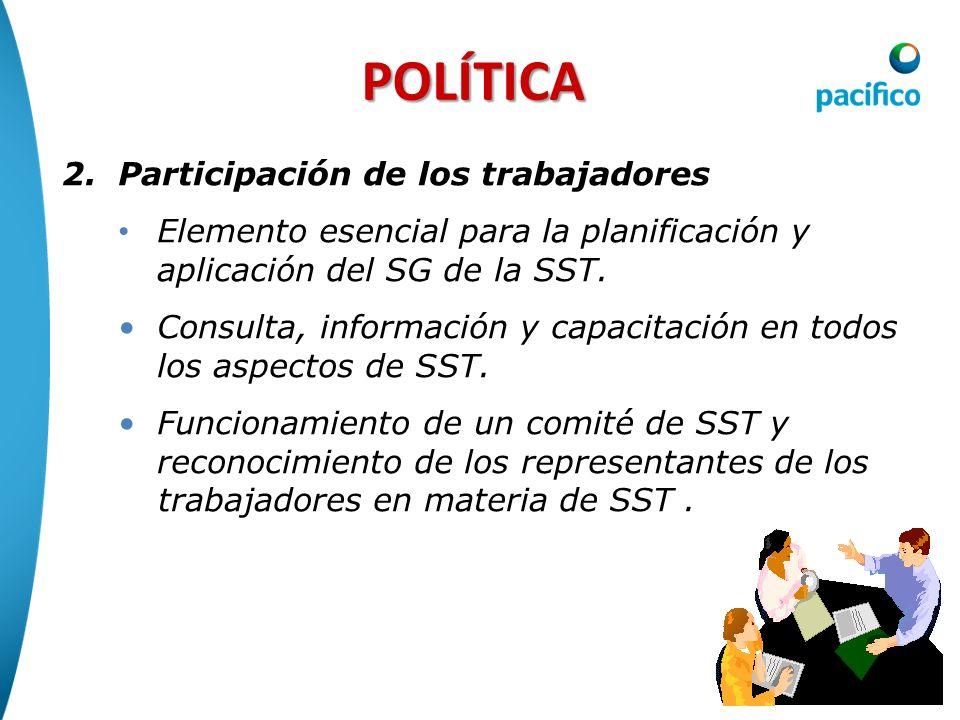 POLÍTICA 2.Participación de los trabajadores Elemento esencial para la planificación y aplicación del SG de la SST. Consulta, información y capacitaci