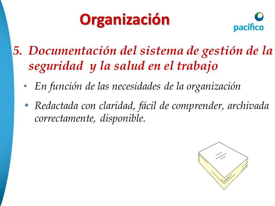 Organización 5.Documentación del sistema de gestión de la seguridad y la salud en el trabajo En función de las necesidades de la organización Redactad