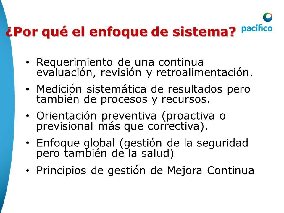¿Por qué el enfoque de sistema? Requerimiento de una continua evaluación, revisión y retroalimentación. Medición sistemática de resultados pero tambié