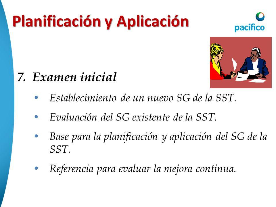 Planificación y Aplicación 7.Examen inicial Establecimiento de un nuevo SG de la SST. Evaluación del SG existente de la SST. Base para la planificació