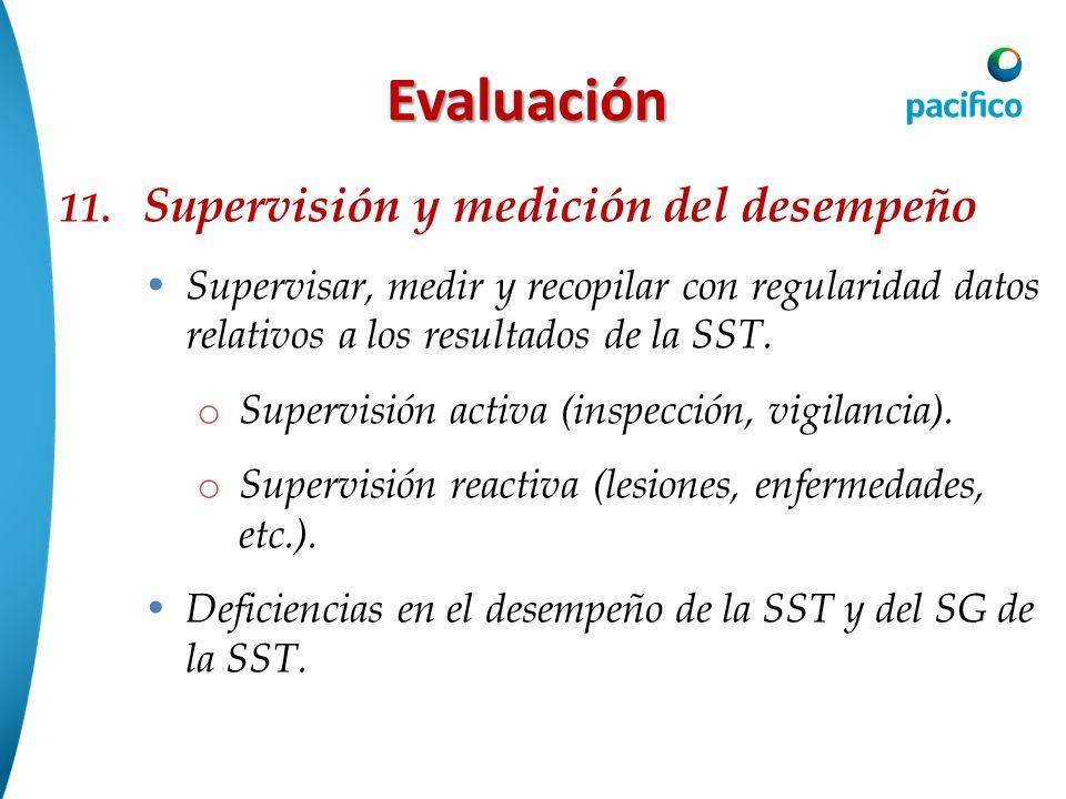 Evaluación 11. Supervisión y medición del desempeño Supervisar, medir y recopilar con regularidad datos relativos a los resultados de la SST. o Superv