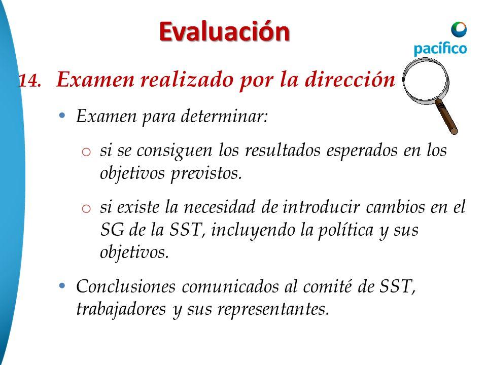 Evaluación 14. Examen realizado por la dirección Examen para determinar: o si se consiguen los resultados esperados en los objetivos previstos. o si e