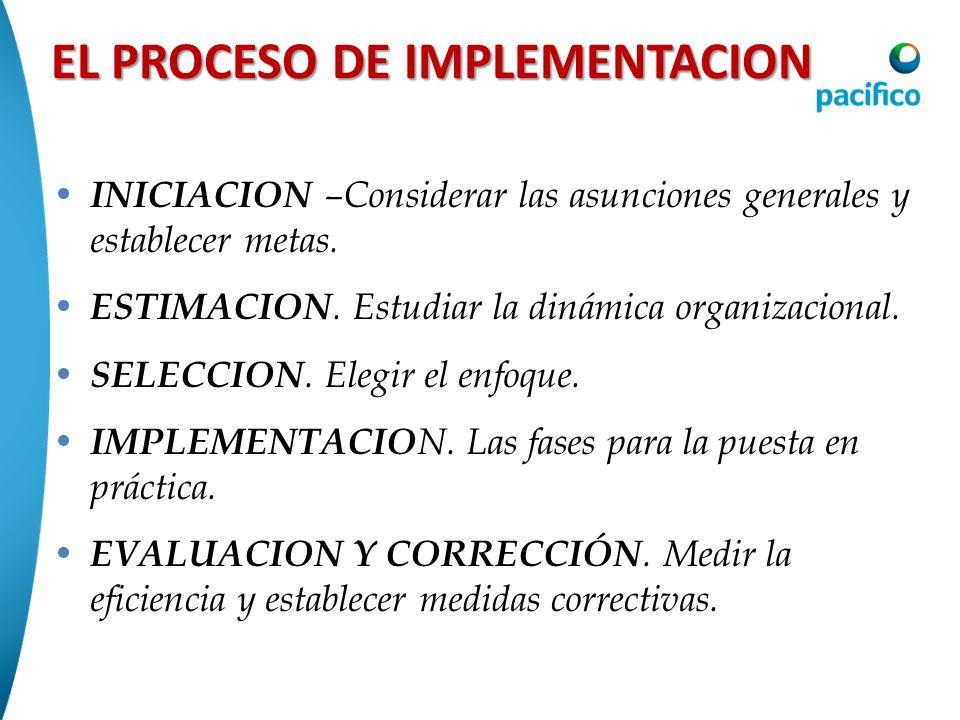 EL PROCESO DE IMPLEMENTACION INICIACION –Considerar las asunciones generales y establecer metas. ESTIMACION. Estudiar la dinámica organizacional. SELE