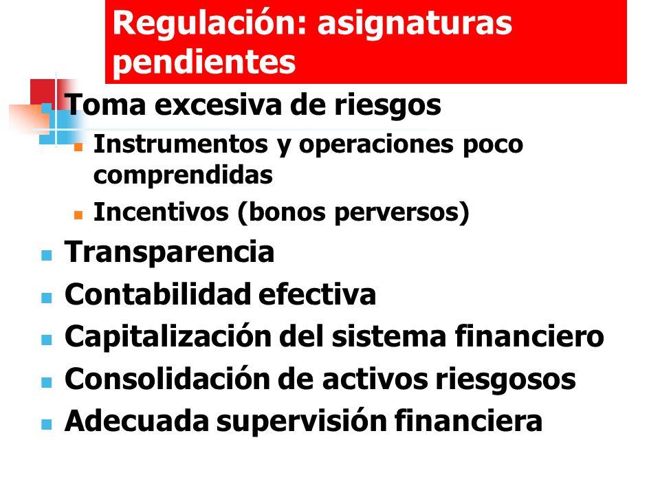 Regulación: asignaturas pendientes Toma excesiva de riesgos Instrumentos y operaciones poco comprendidas Incentivos (bonos perversos) Transparencia Co