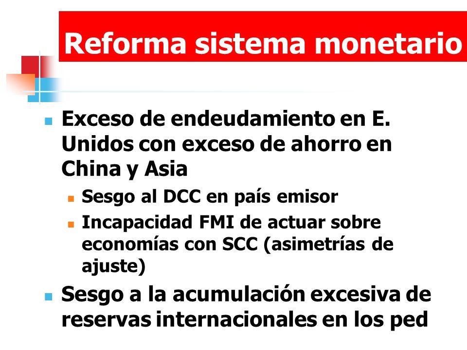 Reforma sistema monetario Exceso de endeudamiento en E. Unidos con exceso de ahorro en China y Asia Sesgo al DCC en país emisor Incapacidad FMI de act