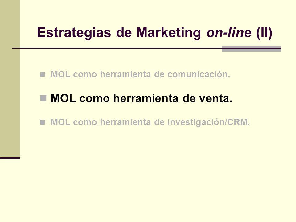 MOL como herramienta de comunicación. MOL como herramienta de venta. MOL como herramienta de investigación/CRM. Estrategias de Marketing on-line (II)
