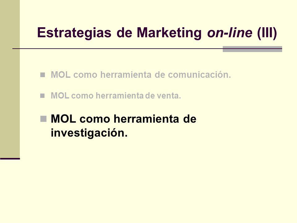 MOL como herramienta de comunicación. MOL como herramienta de venta. MOL como herramienta de investigación. Estrategias de Marketing on-line (III)