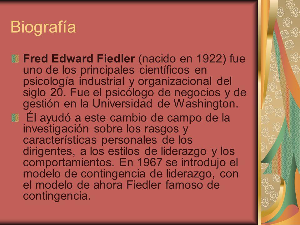 Biografía Fred Edward Fiedler (nacido en 1922) fue uno de los principales científicos en psicología industrial y organizacional del siglo 20. Fue el p