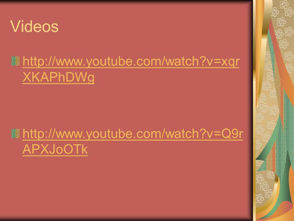 Videos http://www.youtube.com/watch?v=xqr XKAPhDWg http://www.youtube.com/watch?v=Q9r APXJoOTk