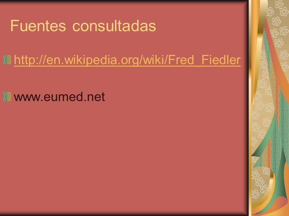 Fuentes consultadas http://en.wikipedia.org/wiki/Fred_Fiedler www.eumed.net
