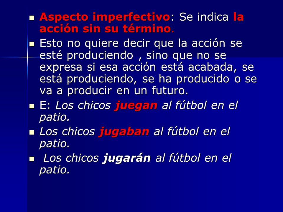 Aspecto imperfectivo: Se indica la acción sin su término. Aspecto imperfectivo: Se indica la acción sin su término. Esto no quiere decir que la acción