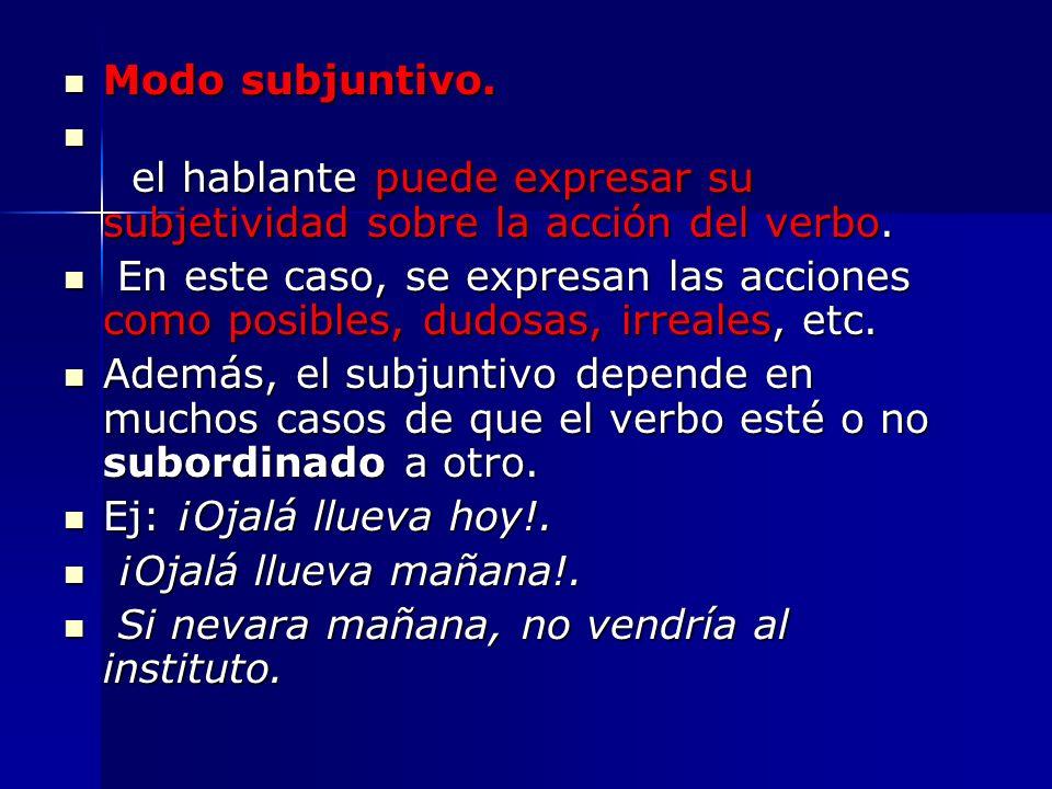 Modo subjuntivo. Modo subjuntivo. el hablante puede expresar su subjetividad sobre la acción del verbo. el hablante puede expresar su subjetividad sob