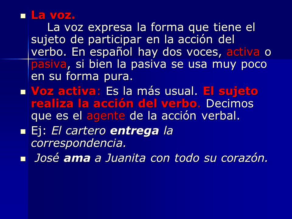 La voz. La voz expresa la forma que tiene el sujeto de participar en la acción del verbo. En español hay dos voces, activa o pasiva, si bien la pasiva