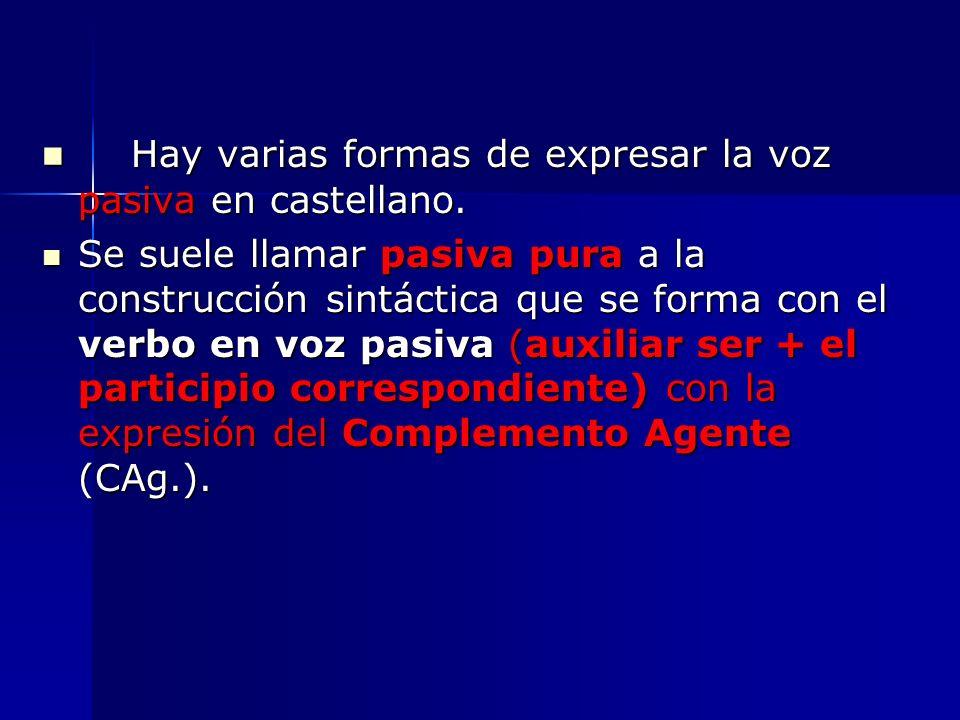 Hay varias formas de expresar la voz pasiva en castellano. Hay varias formas de expresar la voz pasiva en castellano. Se suele llamar pasiva pura a la