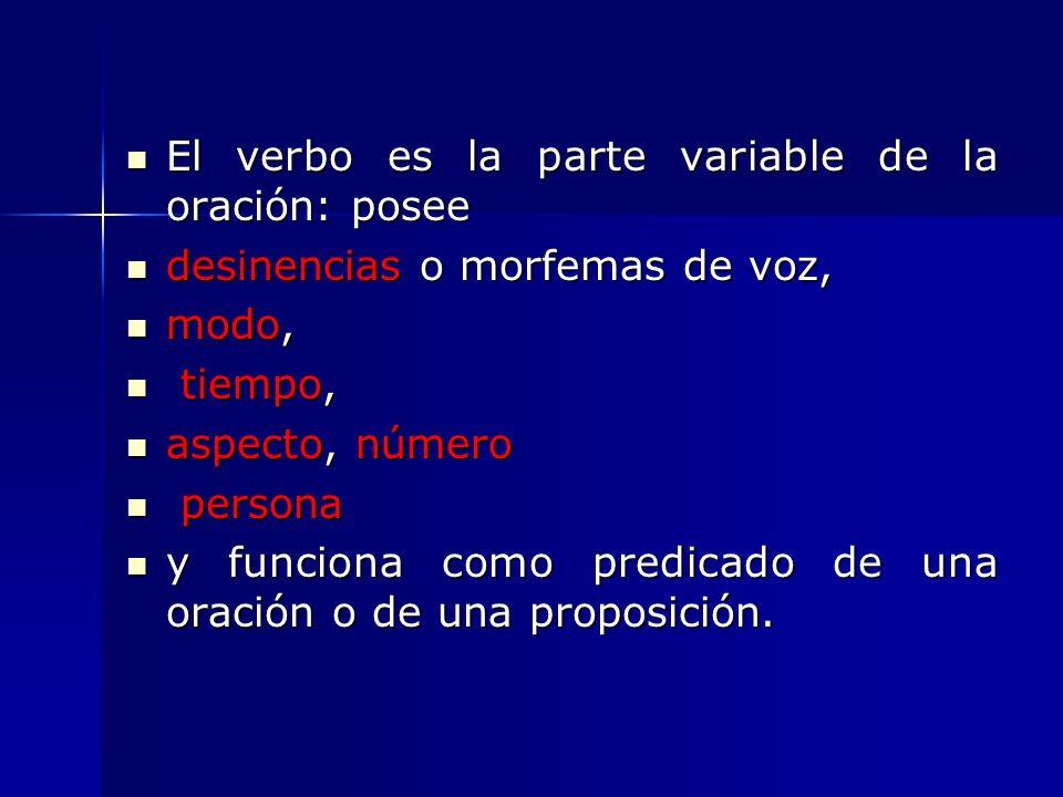 El verbo es la parte variable de la oración: posee El verbo es la parte variable de la oración: posee desinencias o morfemas de voz, desinencias o mor