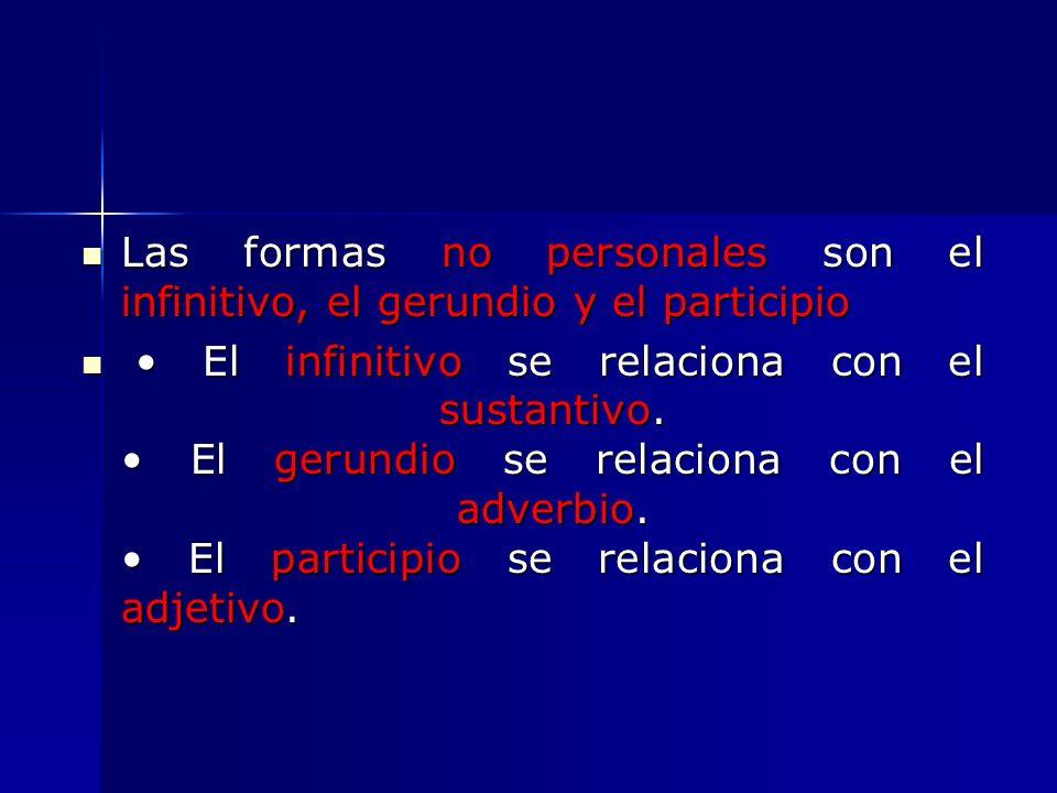 Las formas no personales son el infinitivo, el gerundio y el participio Las formas no personales son el infinitivo, el gerundio y el participio El inf