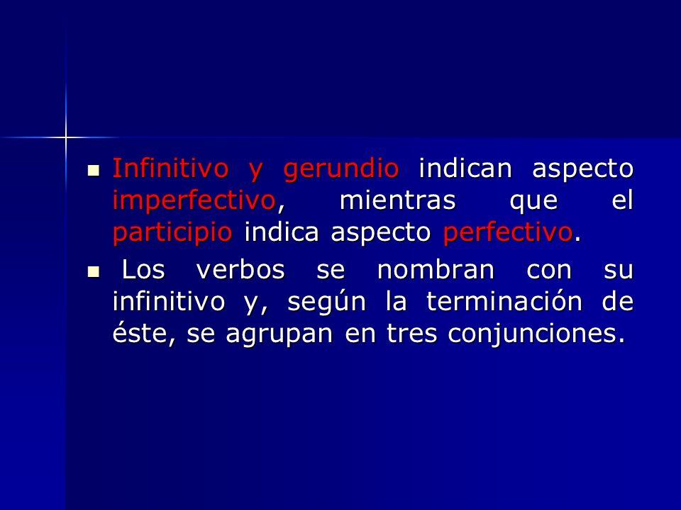 Infinitivo y gerundio indican aspecto imperfectivo, mientras que el participio indica aspecto perfectivo. Infinitivo y gerundio indican aspecto imperf
