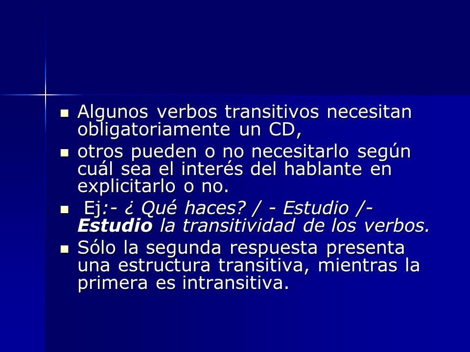 Algunos verbos transitivos necesitan obligatoriamente un CD, Algunos verbos transitivos necesitan obligatoriamente un CD, otros pueden o no necesitarl