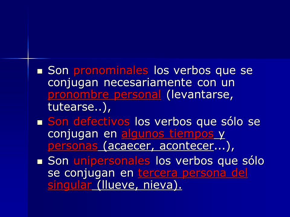 Son pronominales los verbos que se conjugan necesariamente con un pronombre personal (levantarse, tutearse..), Son pronominales los verbos que se conj