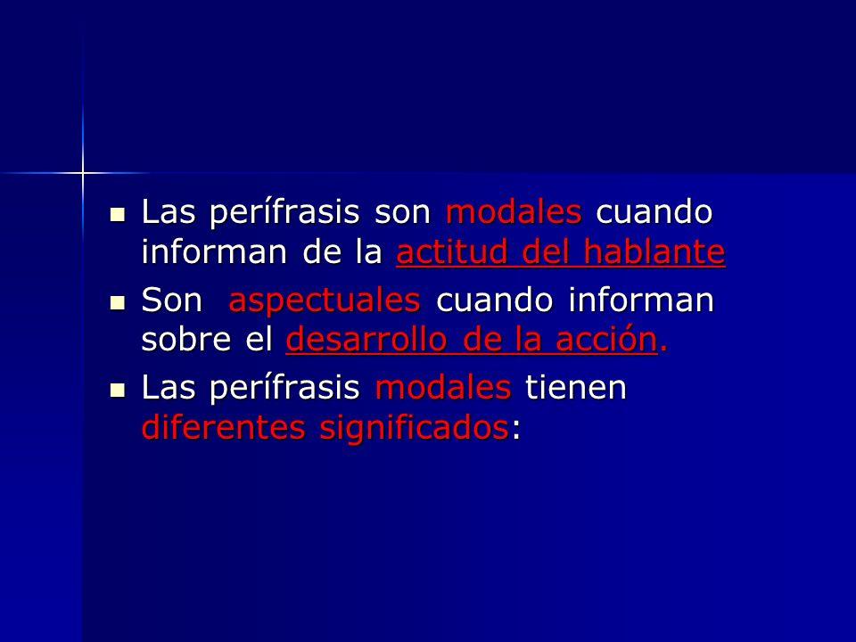 Las perífrasis son modales cuando informan de la actitud del hablante Las perífrasis son modales cuando informan de la actitud del hablante Son aspect