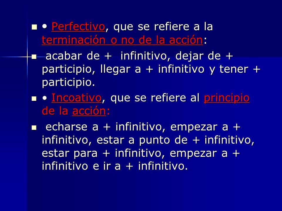 Perfectivo, que se refiere a la terminación o no de la acción: Perfectivo, que se refiere a la terminación o no de la acción: acabar de + infinitivo,